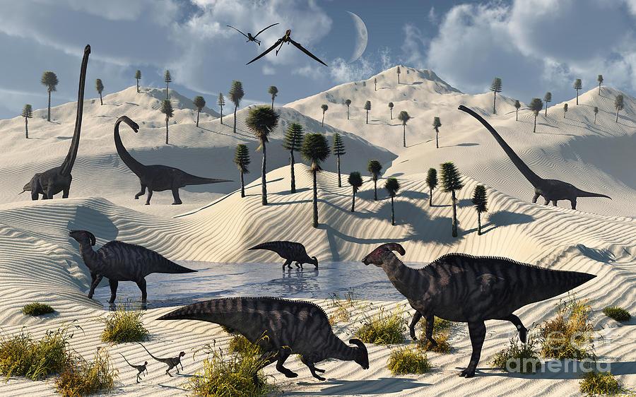 Dinosaurs Gather At A Life Saving Oasis Digital Art