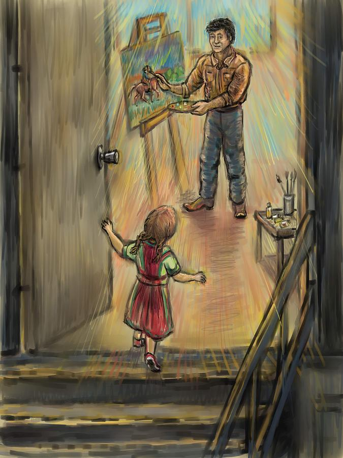 Discovering Daddys World Drawing  - Discovering Daddys World Fine Art Print