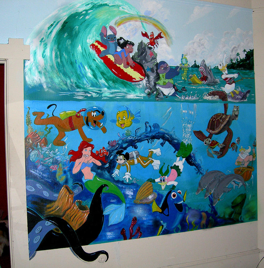 Disney mural painting by robert lettrick for Disney wall mural