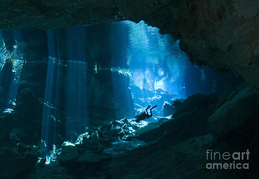 Diver Enters The Cavern System N Photograph  - Diver Enters The Cavern System N Fine Art Print