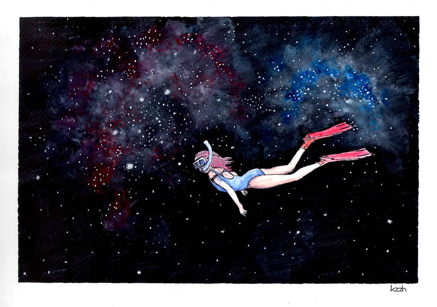 Diving Through Nebulae Painting  - Diving Through Nebulae Fine Art Print