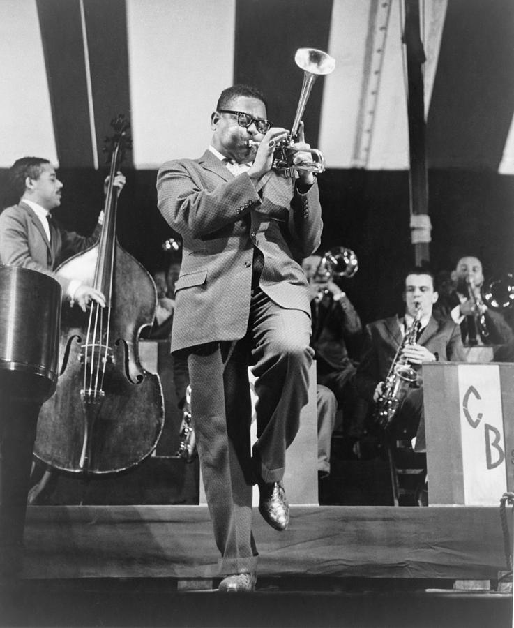 Dizzy Gillespie 1917-1993 Playing Horn Photograph  - Dizzy Gillespie 1917-1993 Playing Horn Fine Art Print