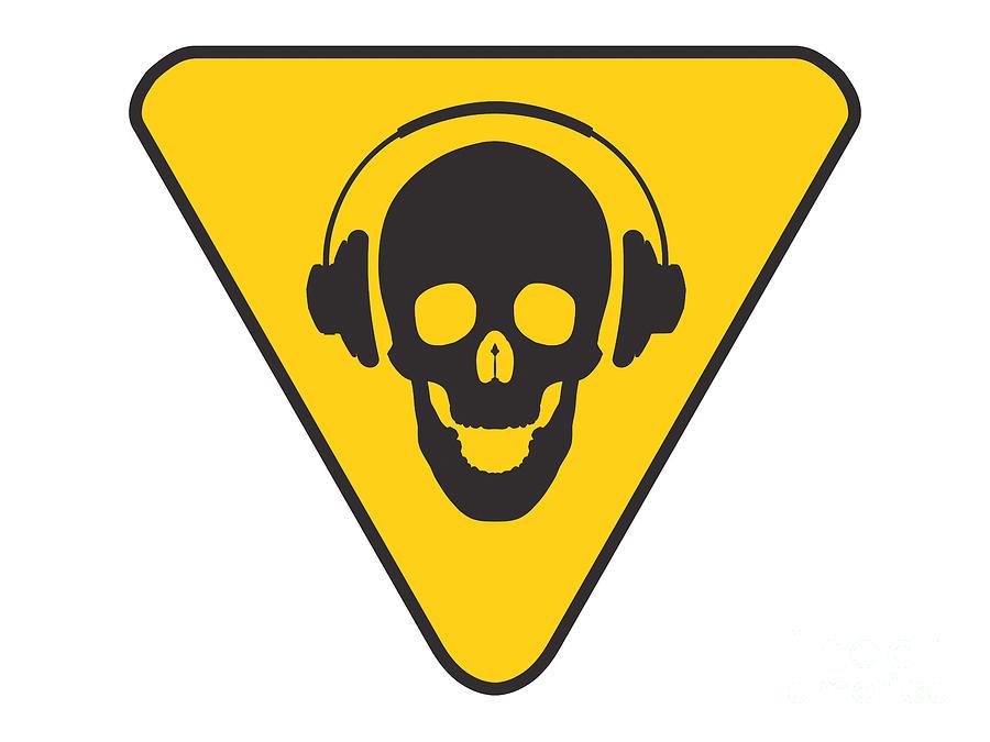 Skull Digital Art - Dj Skull On Hazard Triangle by Pixel Chimp