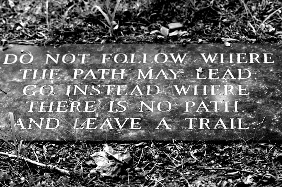Do Not Follow Where The Path May Lead Photograph