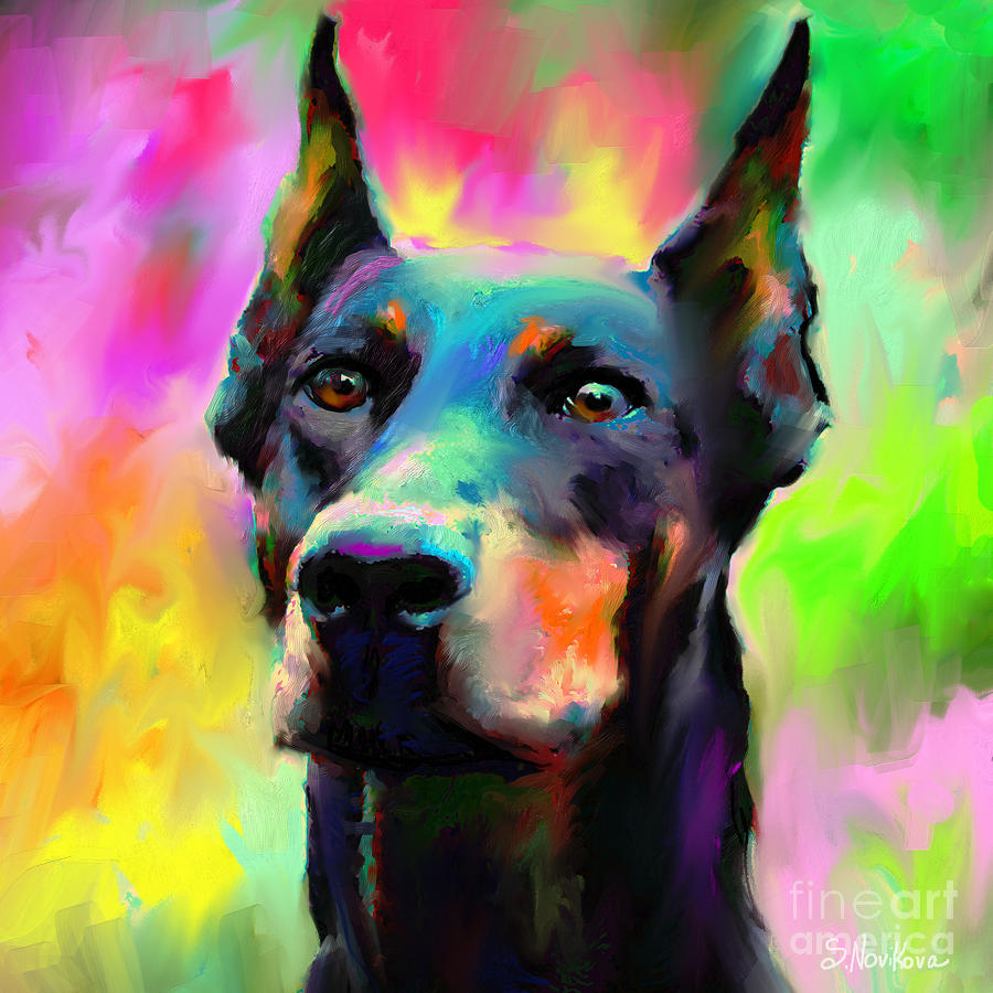 Doberman Pincher Dog Portrait Painting  - Doberman Pincher Dog Portrait Fine Art Print