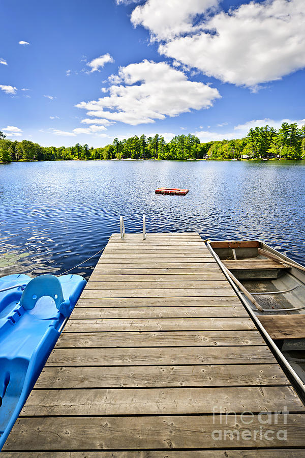 Dock On Lake In Summer Cottage Country Photograph