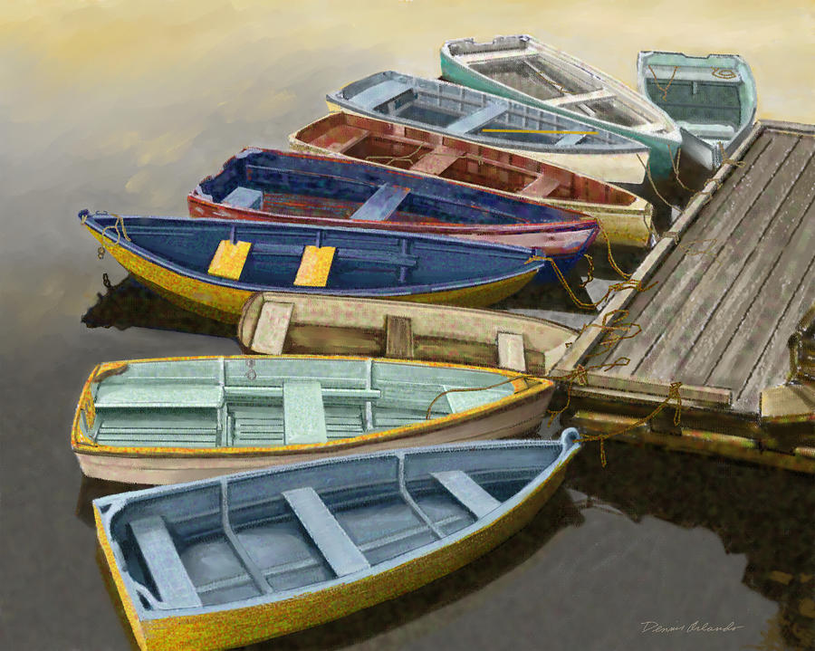 Dock With Colorful Boats Painting