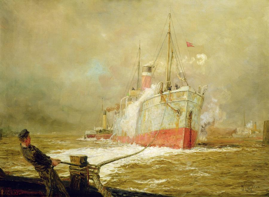 Docking A Cargo Ship Painting