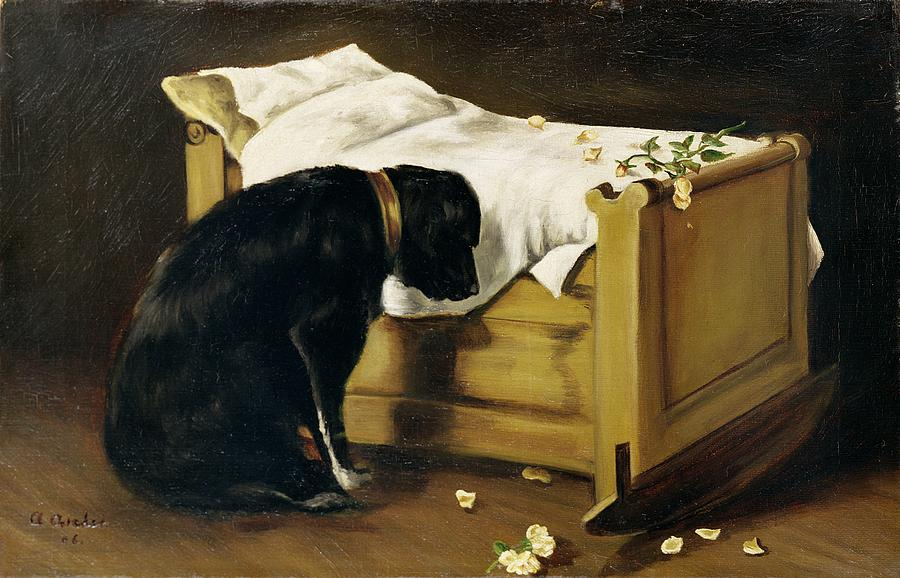 Dog Mourning Its Little Master Painting