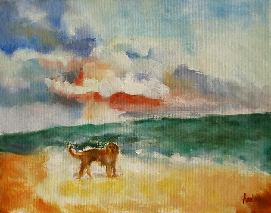 Dog On The Beach Painting