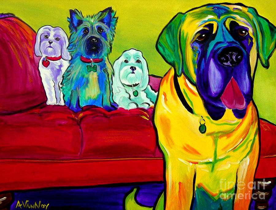 Dogs - Droolers Get The Floor Painting  - Dogs - Droolers Get The Floor Fine Art Print