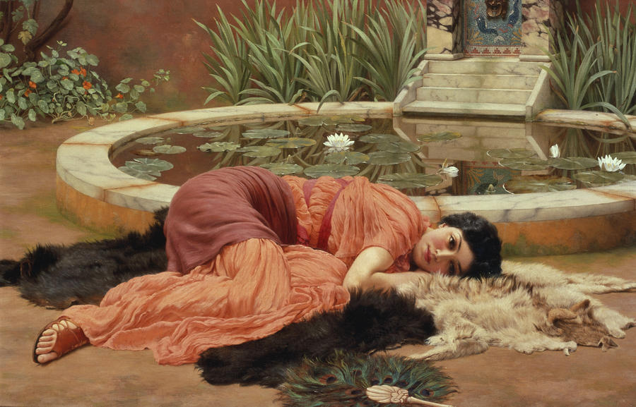 dolce far niente by john william godward. Black Bedroom Furniture Sets. Home Design Ideas