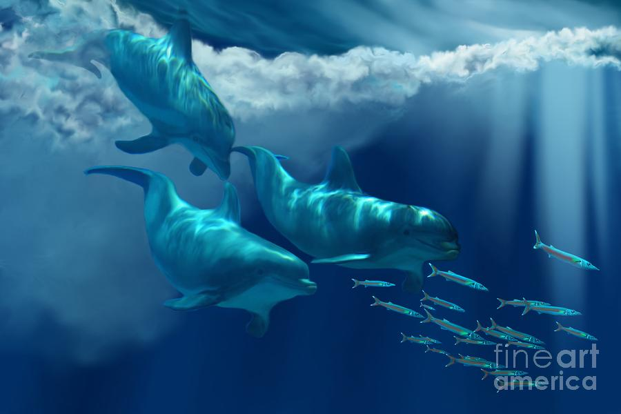 Dolphin World Painting  - Dolphin World Fine Art Print