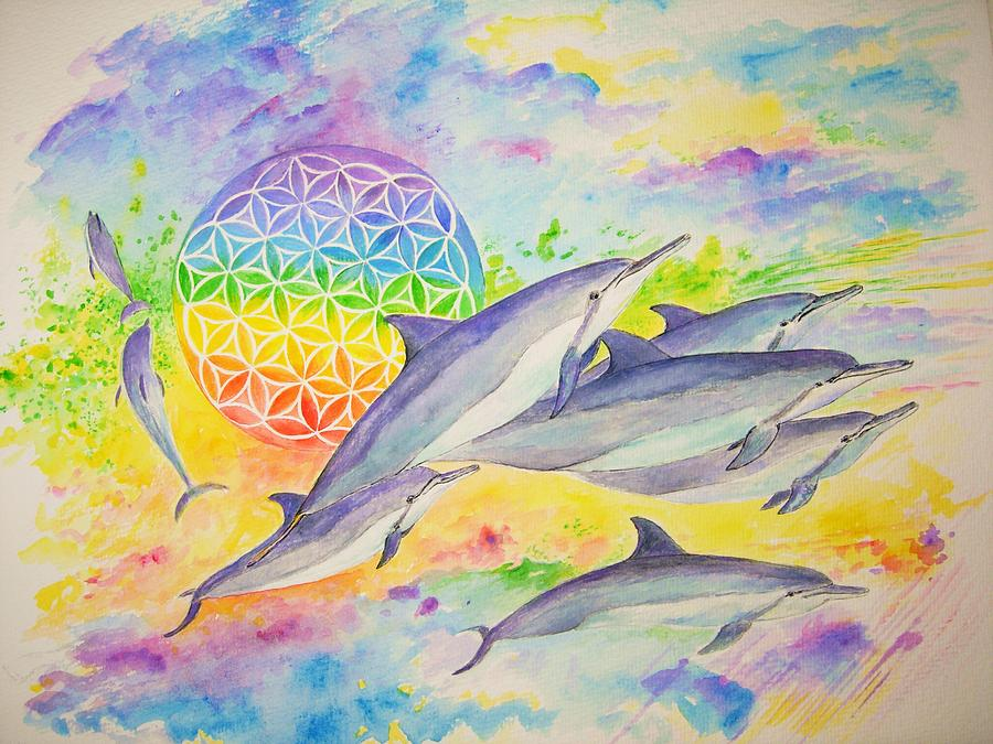 Dolphins Painting - Dolphins-color by Tamara Tavernier