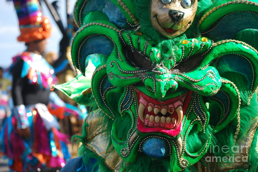 Dominican Republic Carnival Parade Green Devil Mask Photograph  - Dominican Republic Carnival Parade Green Devil Mask Fine Art Print