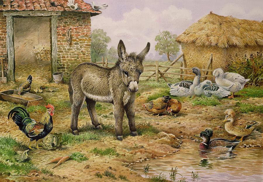 Donkey And Farmyard Fowl  Painting  - Donkey And Farmyard Fowl  Fine Art Print