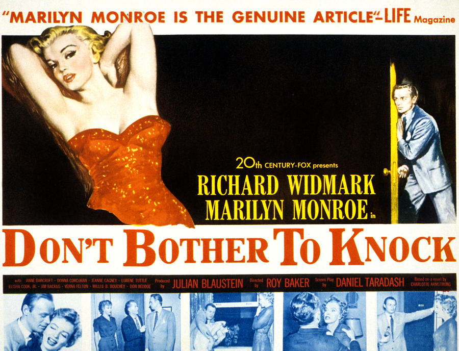 1950s Movies Photograph - Dont Bother To Knock, Marilyn Monroe by Everett