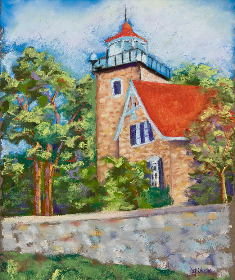 Lighthouse Pastel - Door County Lighthouse by Pat Olson