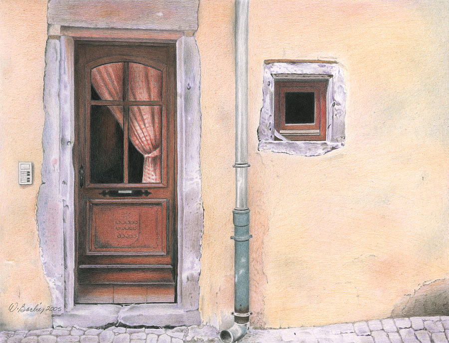 Door In Alsace Drawing  - Door In Alsace Fine Art Print
