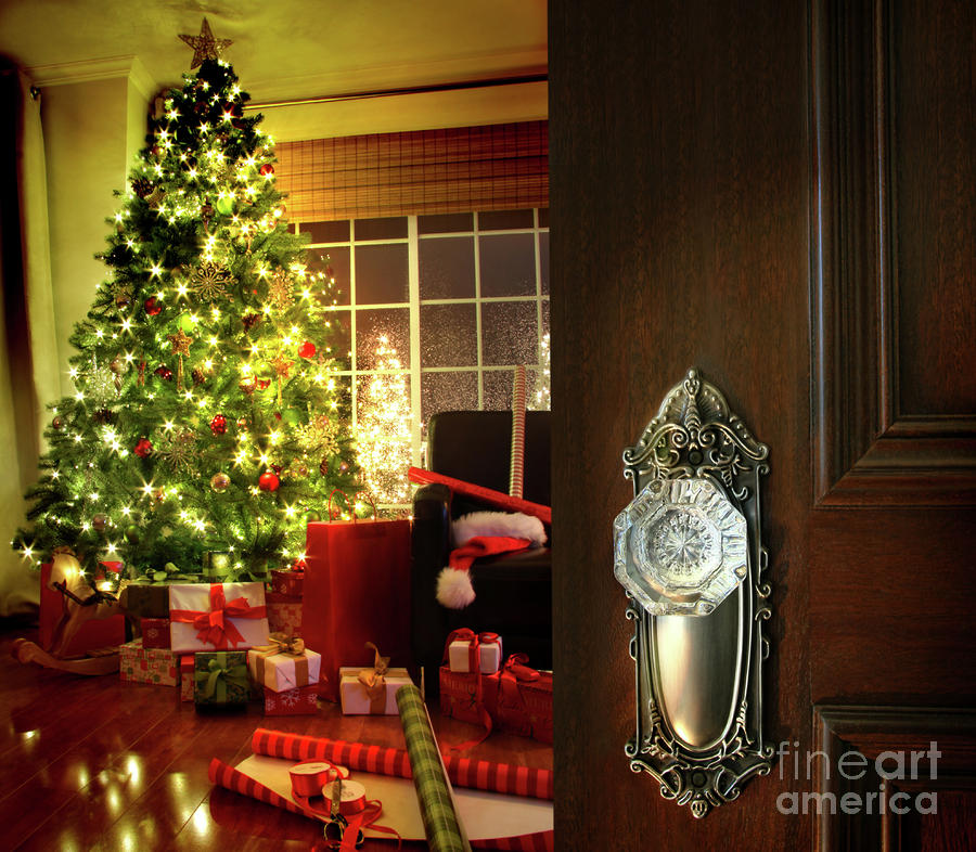 Door Opening Into A Christmas Living Room Photograph  - Door Opening Into A Christmas Living Room Fine Art Print