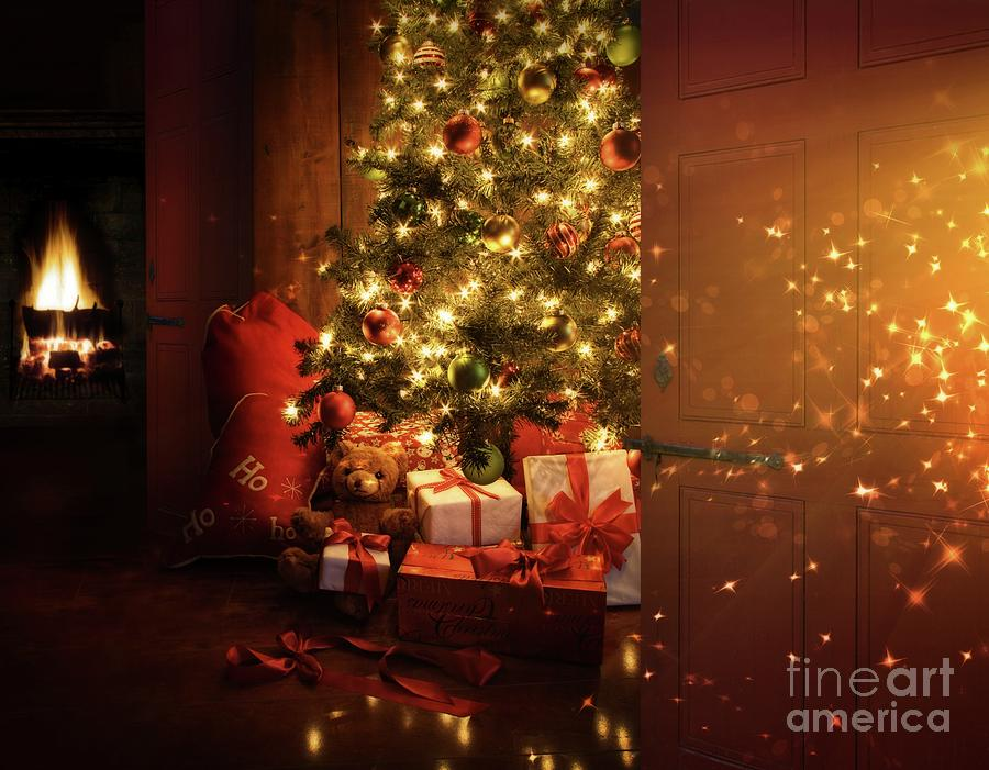 Door Opening Onto Nostalgic Christmas Scene   Photograph