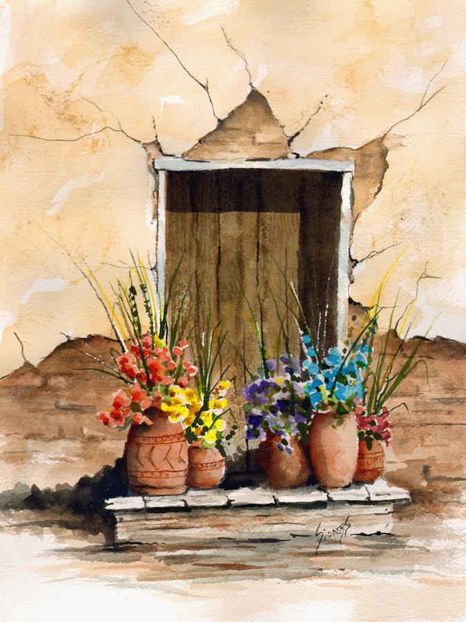 Door With Flower Pots Painting  - Door With Flower Pots Fine Art Print