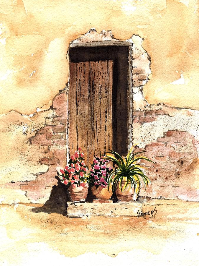 Door With Flowers Painting  - Door With Flowers Fine Art Print