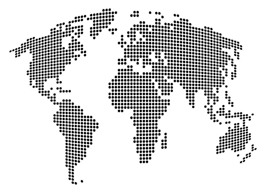 Dot Map Of The World - Black And White Digital Art  - Dot Map Of The World - Black And White Fine Art Print