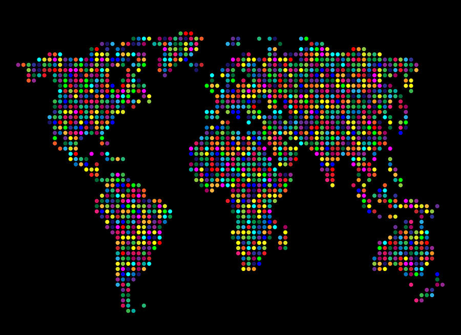 Dot Map Of The World - Multi Colours Digital Art