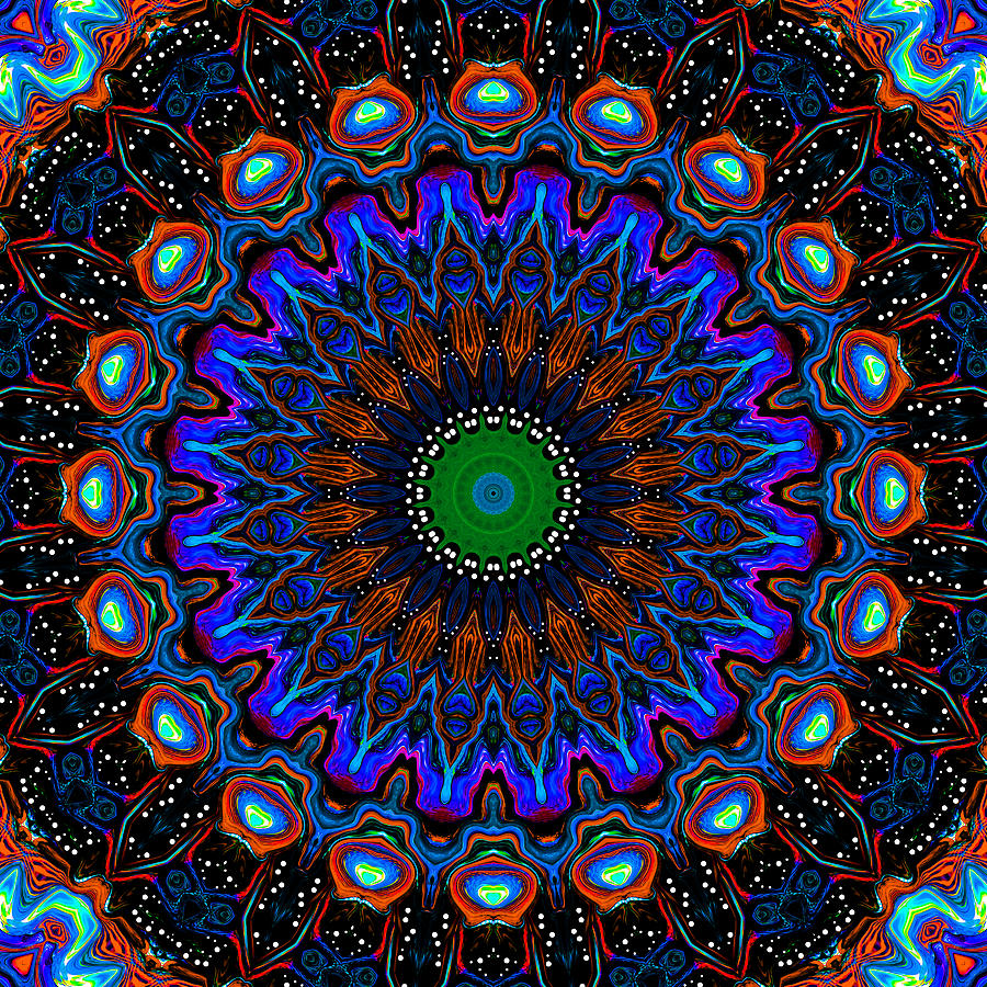 Dotted Wishes No. 9 Kaleidoscope Digital Art  - Dotted Wishes No. 9 Kaleidoscope Fine Art Print