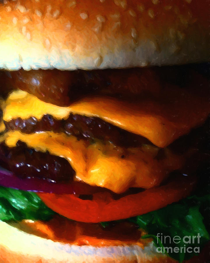 Double Cheeseburger With Bacon - Painterly Photograph  - Double Cheeseburger With Bacon - Painterly Fine Art Print