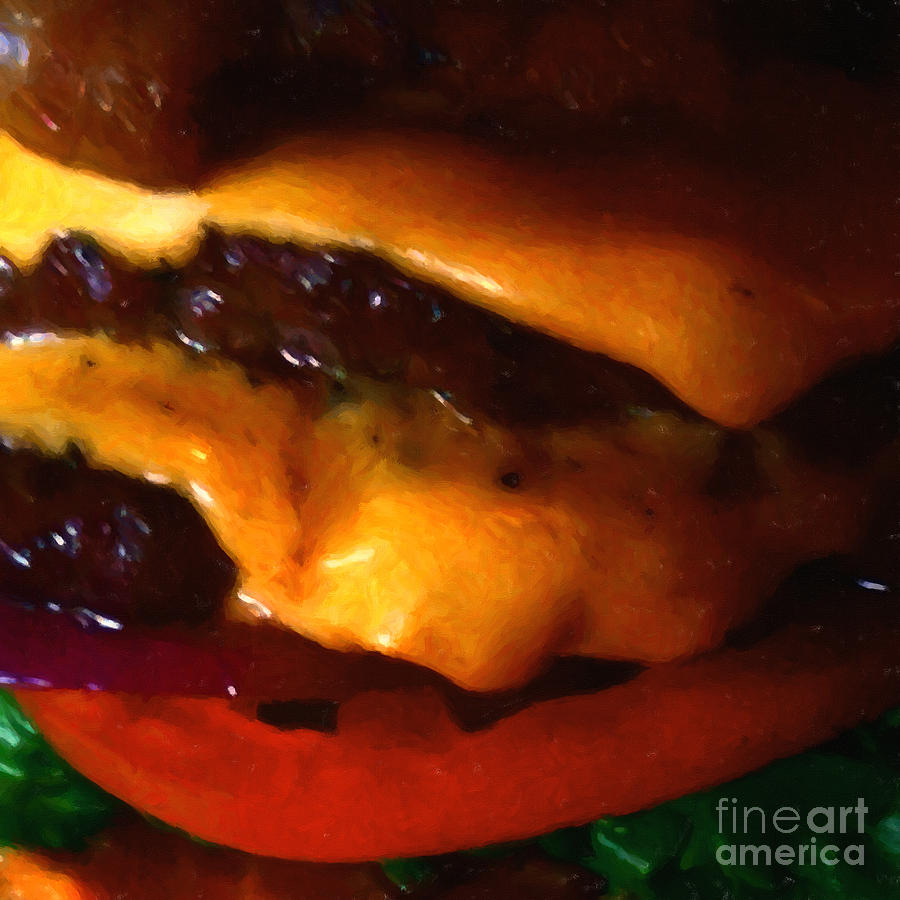Double Cheeseburger With Bacon - Square - Painterly Photograph