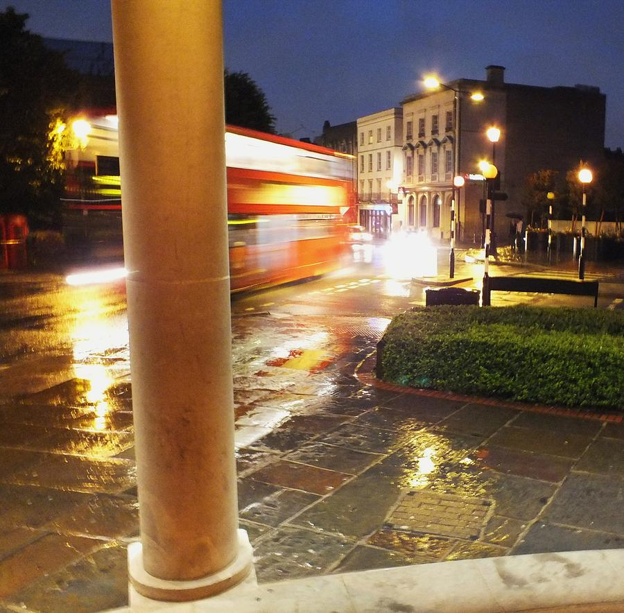 Double Decker Blur In The Rain Photograph  - Double Decker Blur In The Rain Fine Art Print