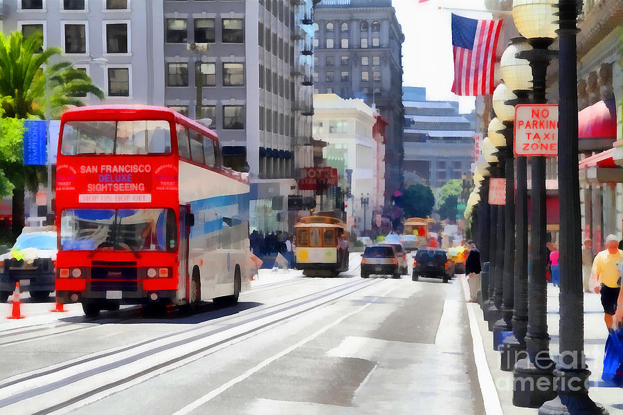 Double Decker Sightseeing Bus Along Powell Street In San Francisco California . 7d7269 Photograph