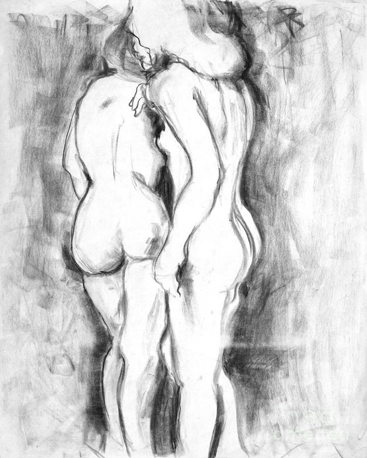 Double Nudes Drawing  - Double Nudes Fine Art Print