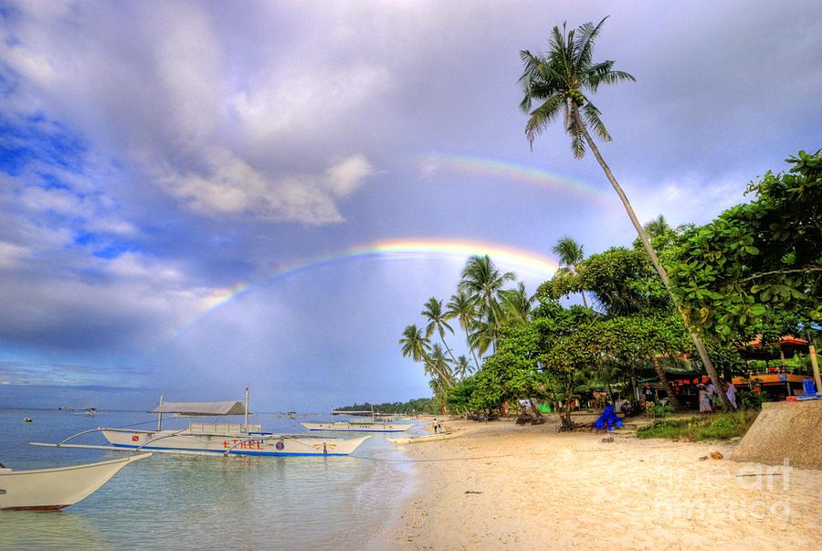Double Rainbow At The Beach Photograph