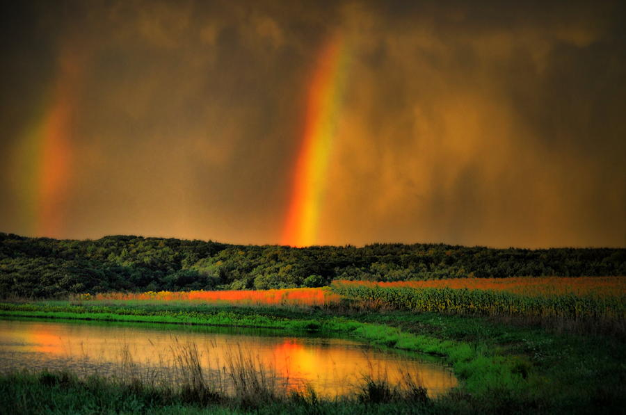 Double Reflection Rainbow Photograph  - Double Reflection Rainbow Fine Art Print