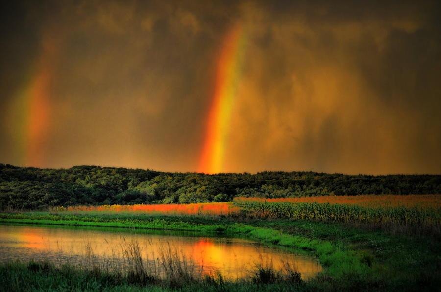 Double Reflection Rainbow Photograph