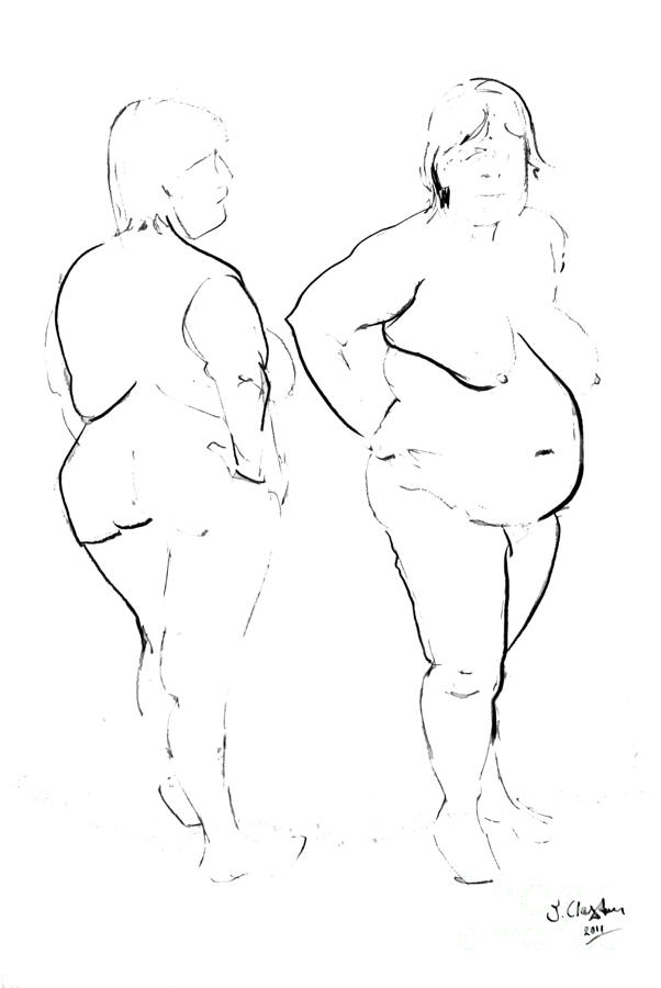 Double Standing Female Nude Drawing