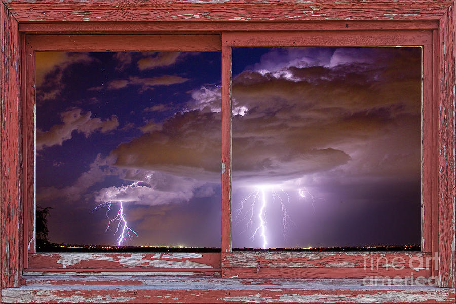 Double Trouble Lightning Picture Red Rustic Window Frame Photo A Photograph  - Double Trouble Lightning Picture Red Rustic Window Frame Photo A Fine Art Print