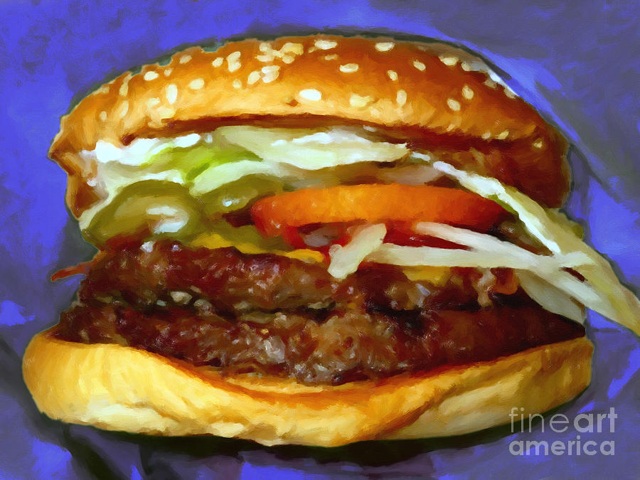 Double Whopper With Cheese And The Works - V2 - Painterly - Purple Photograph