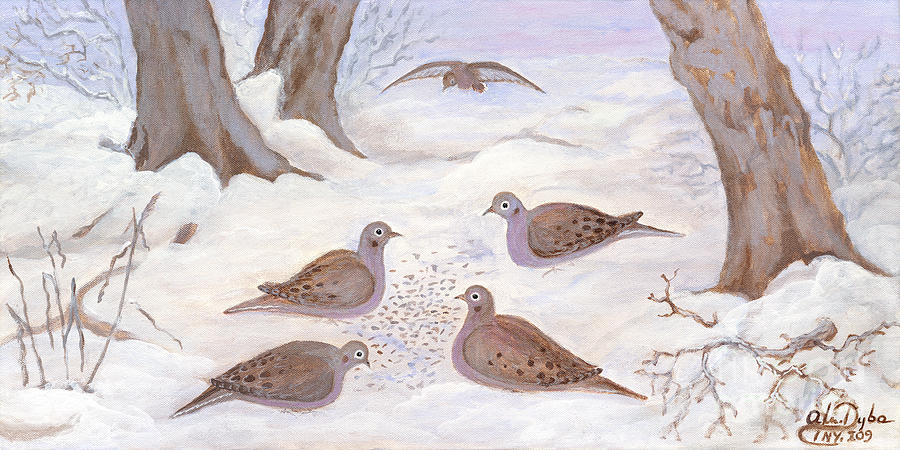 Doves In New York - Winter Painting