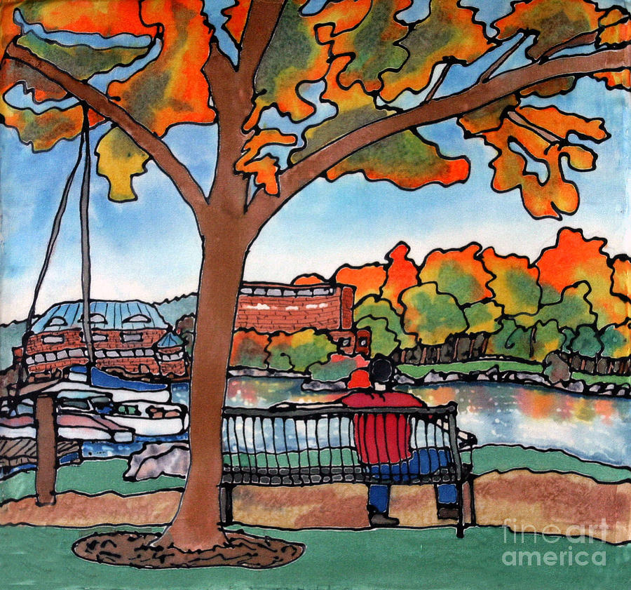 Down By The Waterfront On Silk Painting