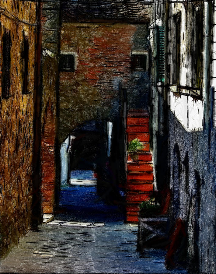 Street Path House Staircase Expressionism Oil Pastel Painting Old Town Pastel - Down The Street by Steve K