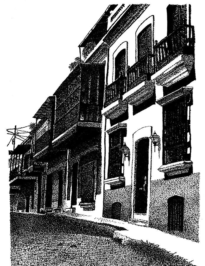 Down The Streets Of Old San Juan Drawing  - Down The Streets Of Old San Juan Fine Art Print
