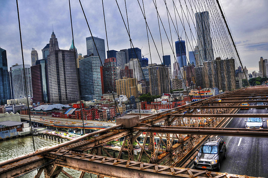 Downtown And Lower East Side Manhattan From The Brooklyn Bridge Photograph  - Downtown And Lower East Side Manhattan From The Brooklyn Bridge Fine Art Print