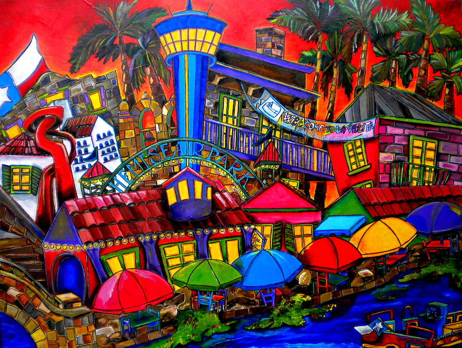 Downtown Attractions Painting  - Downtown Attractions Fine Art Print