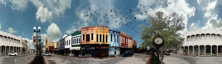 Downtown Bryan Texas 360 Panorama Digital Art  - Downtown Bryan Texas 360 Panorama Fine Art Print