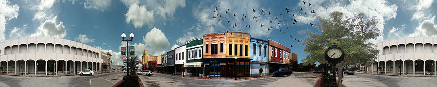 Downtown Bryan Texas Panorama 5 To 1 Photograph