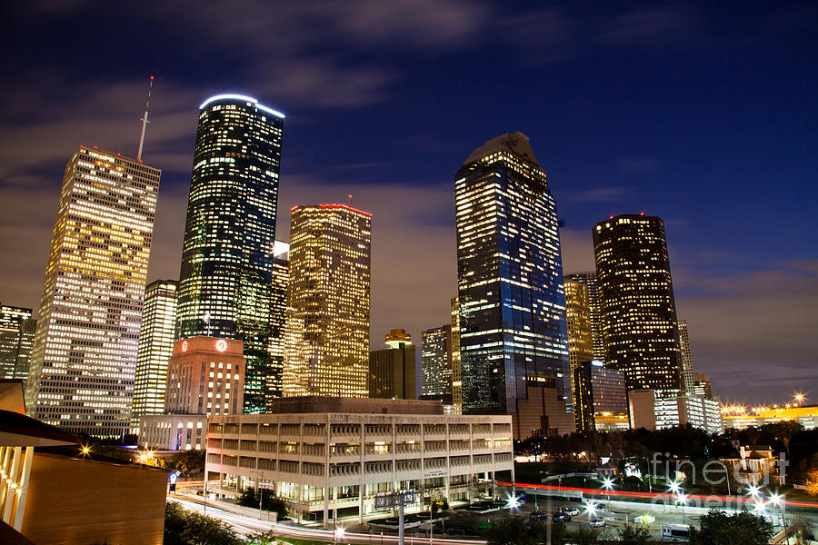 Downtown Houston At Night Photograph  - Downtown Houston At Night Fine Art Print